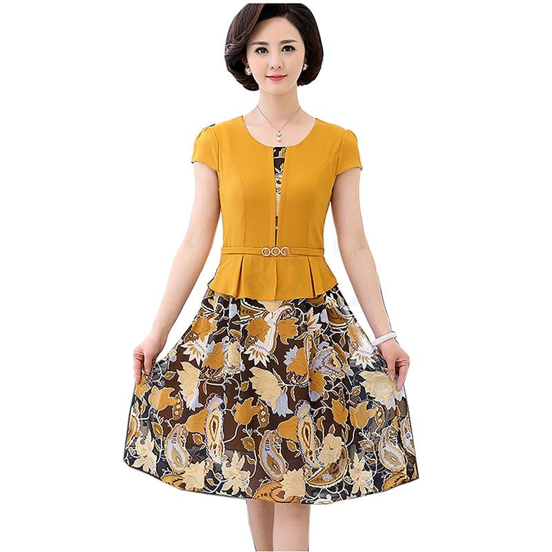 Femmes robe de soirée élégante o-cou imprimé robes en mousseline de soie d'été à manches courtes femme robe Midi 2019 dame Chic Vestidos grande taille