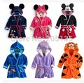 2016 New Hot Sale Baby Bathrobe Kids Pajamas Mickey Minnie Bath Robe Baby Homewear Boys Girls Hooded Robe Cartoon Clothes