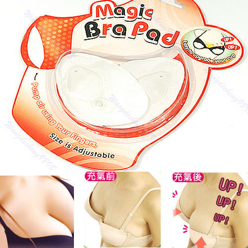 1Pair Women Washable Cotton Magic Inflatable Bra Pad Push Up Breast Pads White Hot Sale