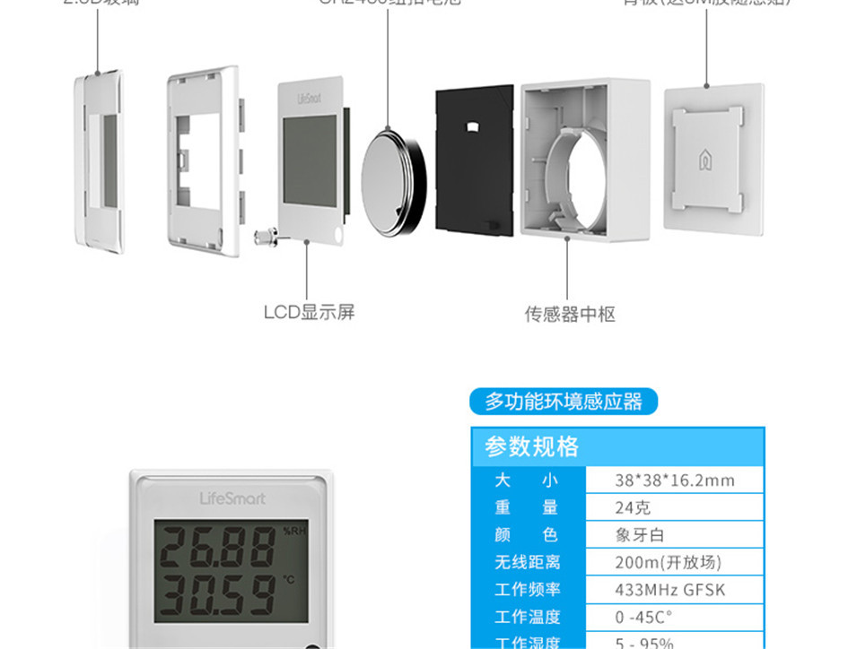 12 --- Lifesmart Multifunctional Environment Sensor 433MHZ Monitor Indoor Temperature, Humidity App Realtime View Remote Control by APP