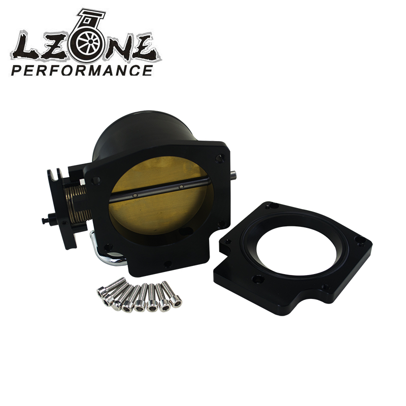 LZONE RACING - 92mm Throttle Body +Manifold Adapter Plate for LS LS2 LS3 LS6 LS7 LSX BLACK JR6937+TBS41 free shipping new throttle body 92mm for gm gen iii ls1 ls2 ls6 throttle body for ls3 ls ls7 sx ls 4 bolt cable vr6937