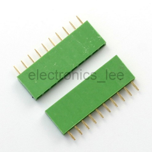 Green 10Pin 1*10 Single Row Female pin Header 2.54mm Socket Connector for Arduino
