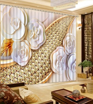 Rhinestone curtains Flowers print Chinese Customized 3D Blackout Curtains Living Room Bedroom Hotel Window