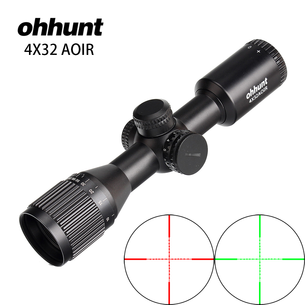 4X32 AOIR Compact Hunting Tactical Wide Angle Riflescopes Mil Dot Illuminated Reticle Turrets Reset Optics Rifle Scope leapers utg 3 9x32 aolmq compact mil dot reticle hunting optics riflescopes locking w sun shade