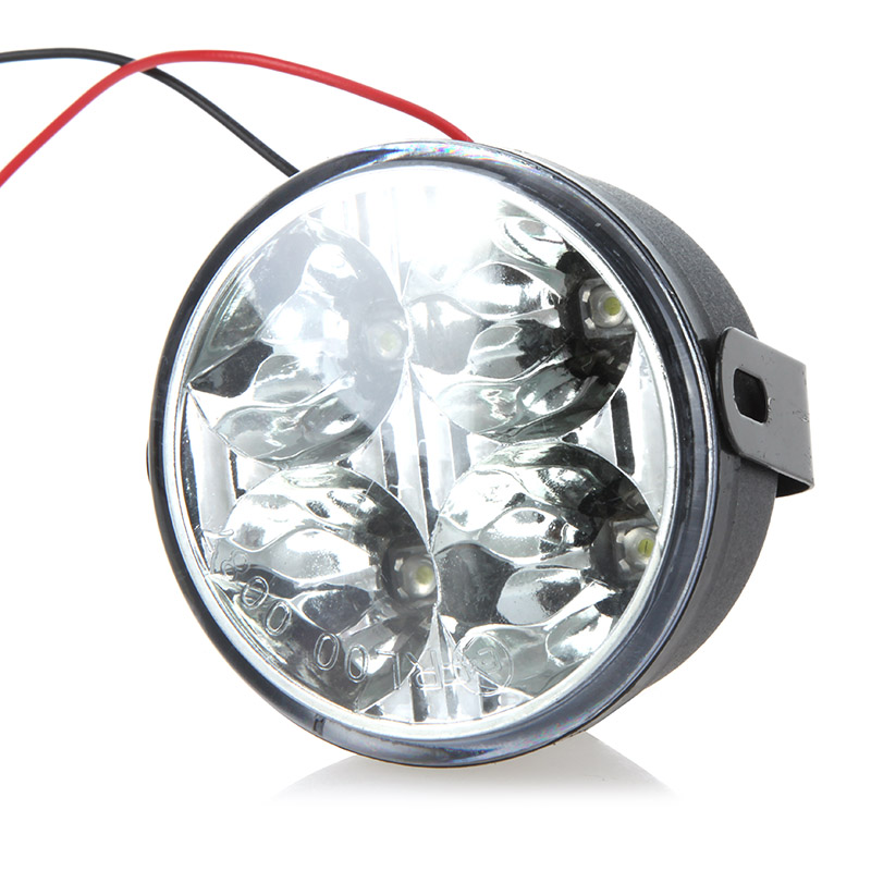 Round LED Daytime Running Light 4 LED White Car Headlight Universal Car Light Source for SUV 4WD Pickup ATV