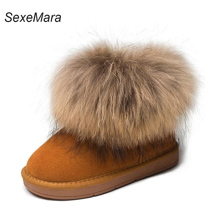 2017 New Winter Children Shoes Genuine Leather Real Fur Kids Snow Boots Brand Quality Girls Boys Boots