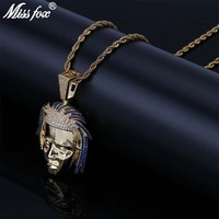 Missfox Hip Hop Super Singer Big Pendant Necklace Long Men HQ Blue/Pure Cubic Zirconia Free Shipping 24k Gold Pendant Jewelry