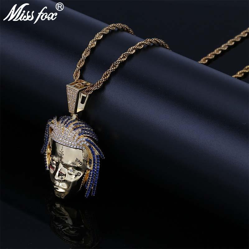 Missfox Hip Hop Super chanteur grand pendentif collier Long hommes HQ bleu/pur cubique zircone livraison gratuite 24 k or pendentif bijoux