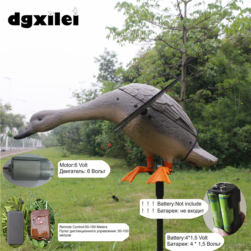 2017 Russian New Arrival Wholesale 6V Remote Control Paint Ducks Hunting Xilei Duck From Xilei With Magnet Spinning Wings xilei new arrival wholesale dc 6v remote control plastic mallard drake hunting decoys the hunting with magnet spinning wings