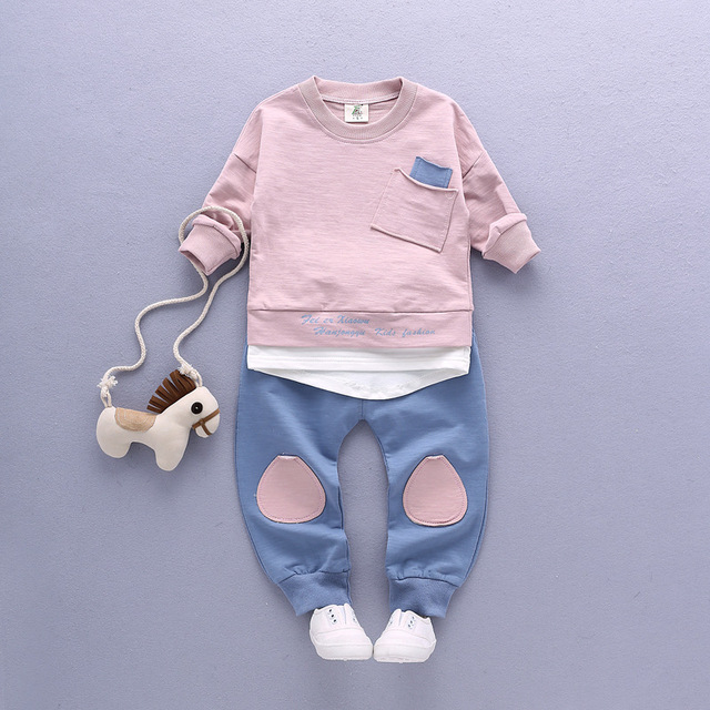 New 2017 Spring kids boys clothes mother & kids clothing patchwork long-sleeved boy sport suit 1-3 years children clothing set