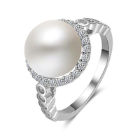 2018 New Collection Authentic 100 925 Sterling Silver 10mm White Freshwater Pearl Rings For Women Wedding