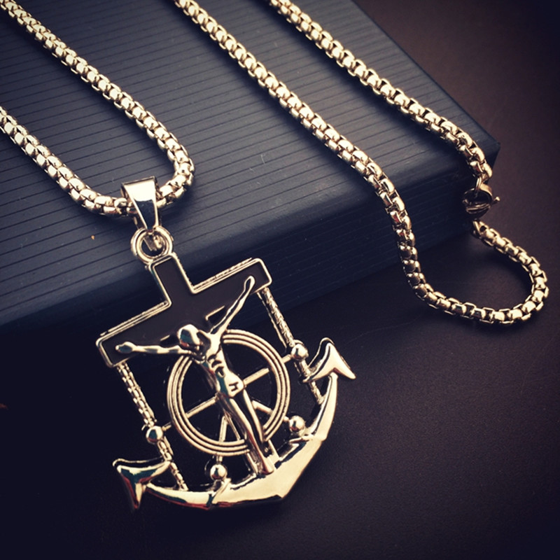 2016 New Arrival Fashion Antique silver plated Long Necklace Jesus Cross Anchor Pendant Charm Hip Hop Jewelry for Men Women Gift