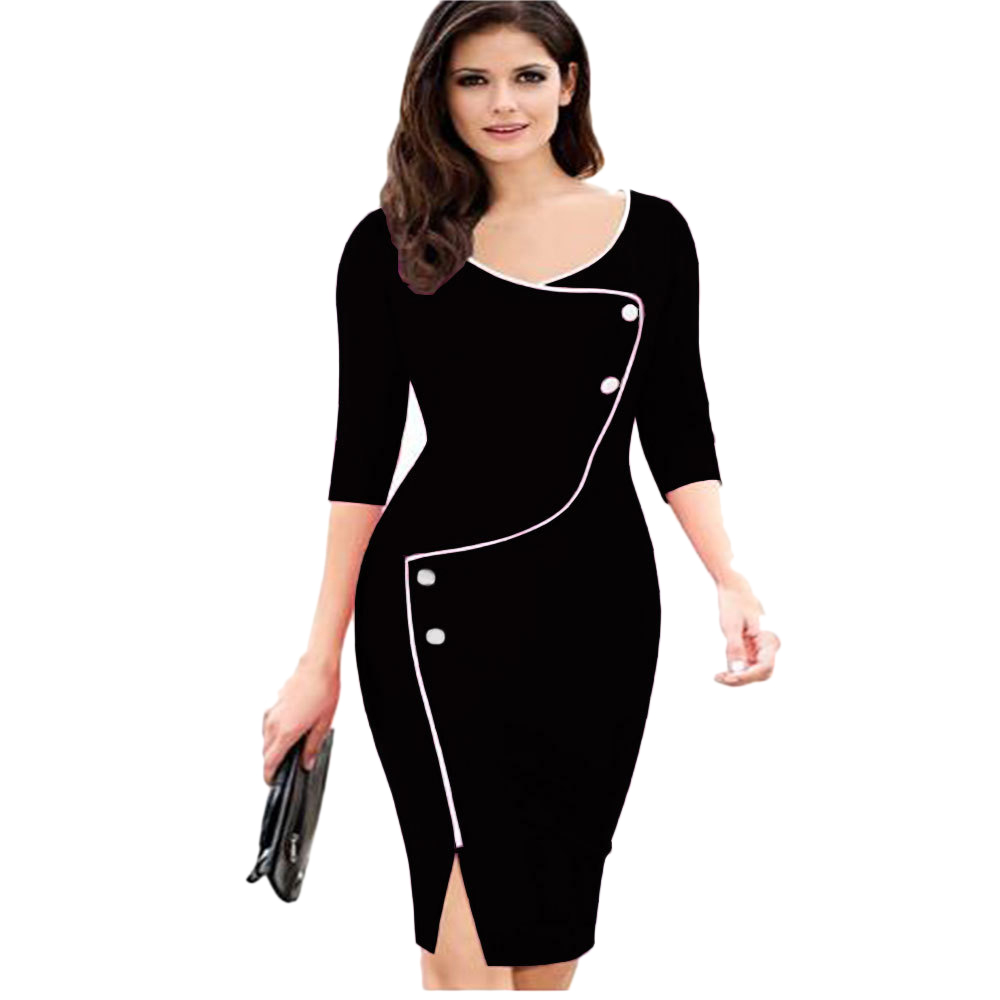 Elegant Women Vintage Office Work Dress Casual 3/4 Sleeve Business Bodycon  Female Pencil Plus Size | Always the latest fashion mode at one place