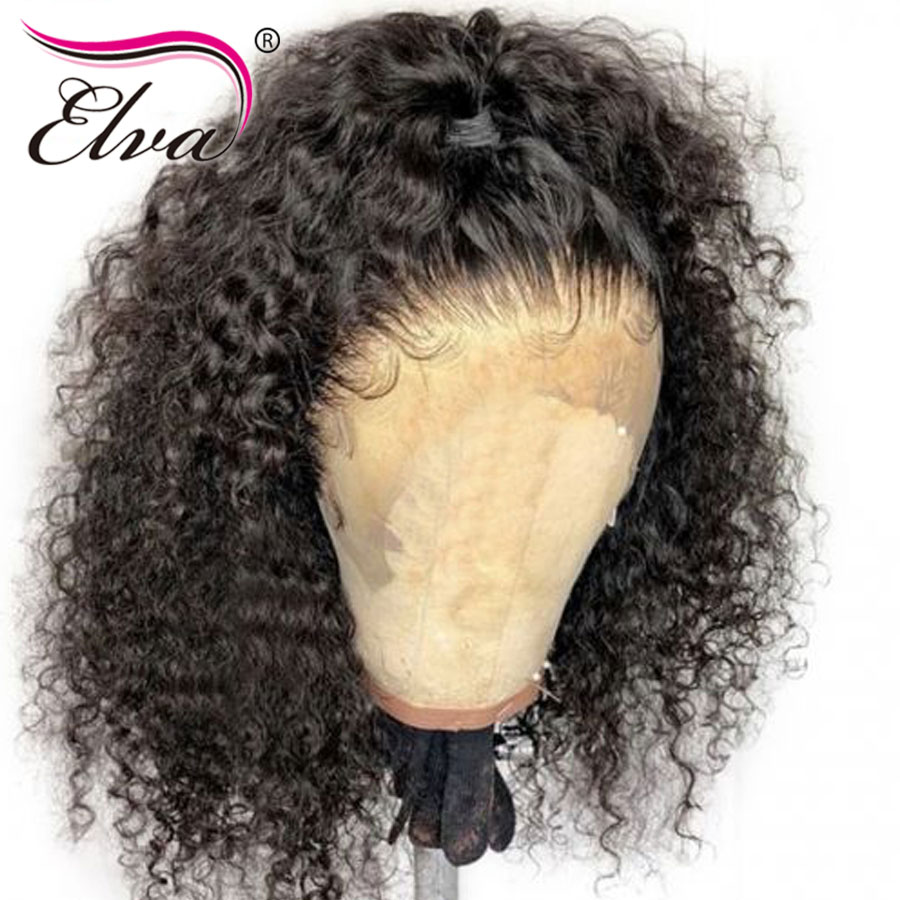 Elva Hair Full Lace Human Hair Wigs Curly Lace Wig For Black Women Brazilian Remy Hair With Baby Hair Pre Plucked Bleached Knots(China)
