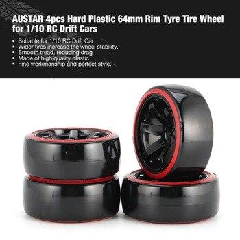 AUSTAR AX 4pcs 64mm Hard Plastic Rim Tyre Tire Wheel for 1/10 RC Drift Car Model HSP HPI Component Spare Parts Accessories 8010 diy replacement plastic wheel tire for 1 10 model car toy off white black 4 pcs