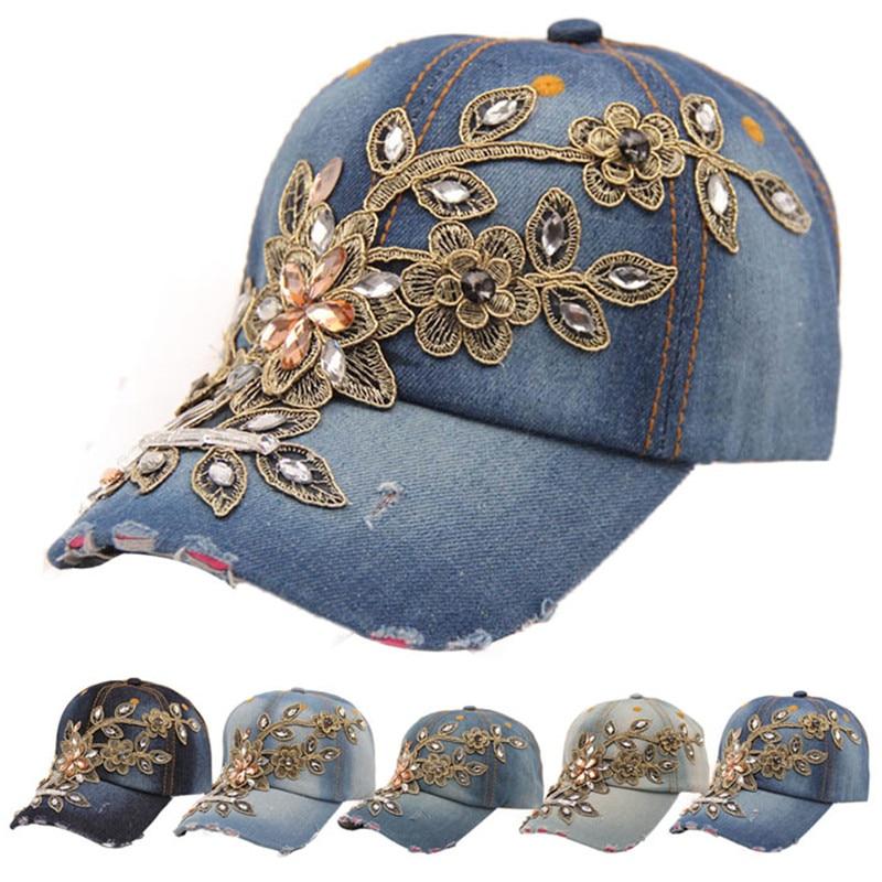 2018 Neue Vogue Frauen Caps Diamant Blume Cowboy Knochen Feminino Baseball Kappe Sommer Stil Casquette Jeans Hüte Denim Caps