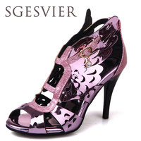 SGESVIER 2017 Fashion Women Sandals Summer Bohemia Hollow Carved Lace Belt Bow Open Toe High Heeled
