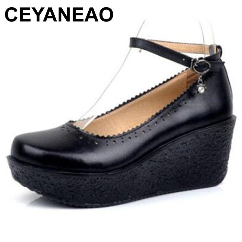 28247afd2 Shoese1499 Cuero Ceyaneaowomen Cuñas Nueva Zapatos Vaca Alto negro Casuales  Marca Tacones Plataforma Mujer Apricot Moda ...