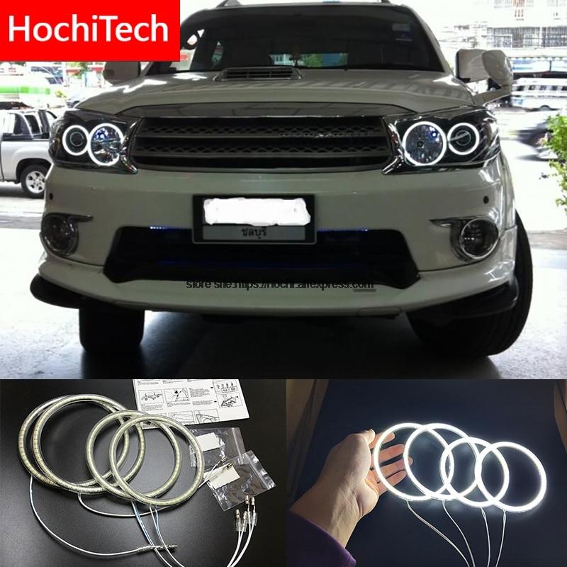US $21 13 24% OFF HochiTech For Toyota FORTUNER 2008 2010 Ultra bright SMD  white LED angel eyes 2600LM 12V halo ring kit daytime running light DRL-in