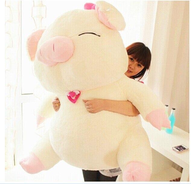 Énorme poupée cochon en peluche blanc sourire cochon jouet sanshun cochon poupée cadeau environ 105 cm 0607