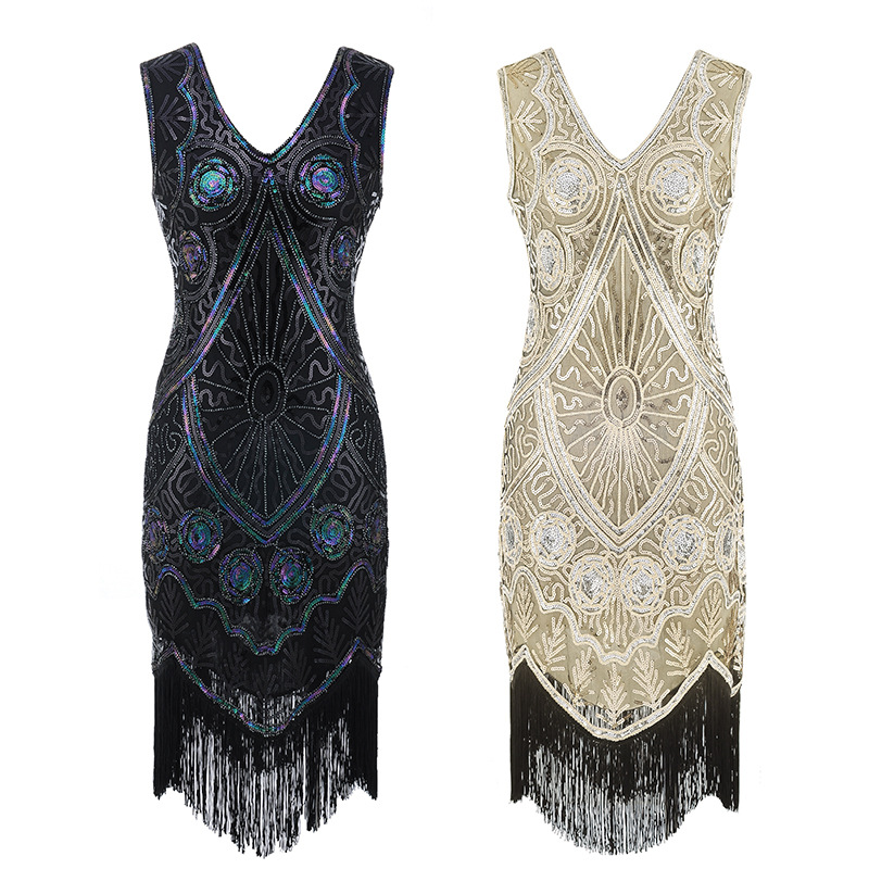 2019 new colors Women 1920s Flapper Dress Gatsby Vintage Plus Size Roaring 20s Costume Dresses Fringed for Party Prom