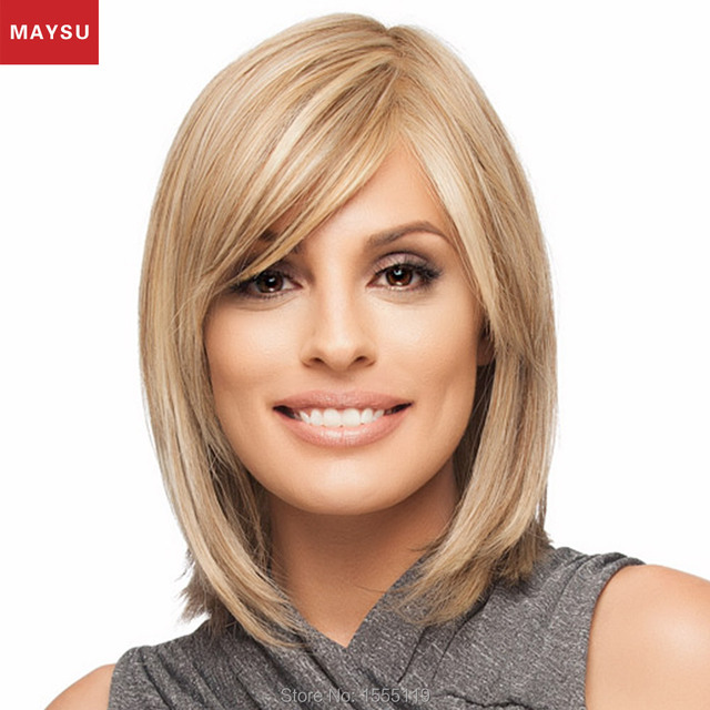New Arrival Medium Human Hair Wigs For Women Elegant MAYSU Side Parting Trendy Hand Tied Brazilian Blonde Virgin Hair wig