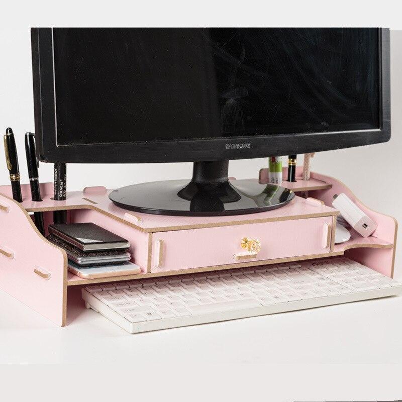 Écran de moniteur d'ordinateur LCD en bois créatif augmenté Rack de stockage clavier fournitures de bureau à domicile Rack de stockage de bureau tiroir