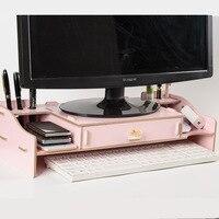 Creative Wooden LCD Computer Monitor Screen Increased Storage Rack Keyboard Home Office Supplies Drawer Desk Storage Rack