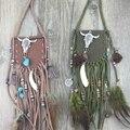 Collar de flecos bohemio mujeres Boho vintage silver Neck Dramático Suede Borla Larga Cadena de Resina De La Turquesa colgante, Collar Étnico