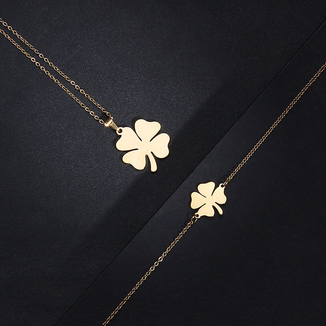 CACANA Stainless Steel Sets For Women Clover Shape Necklace Bracelets Earrings 4