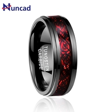 Бренд Bijoux мужское Ювелирное кольцо Гальваническое черное инкрустированное красный опал бумага Черный Дракон протектора шаг вольфрамовое кольцо