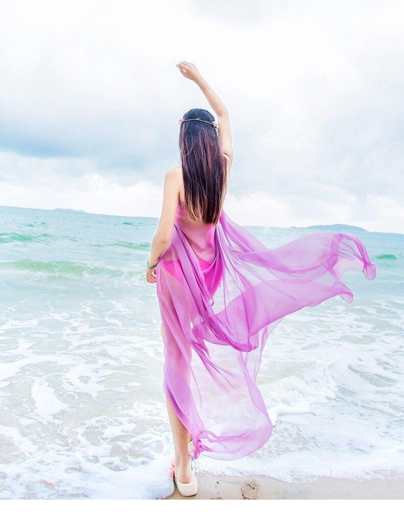 RUNMEIFA] nueva moda gasa Color puro playa bufandas mujer verano ...