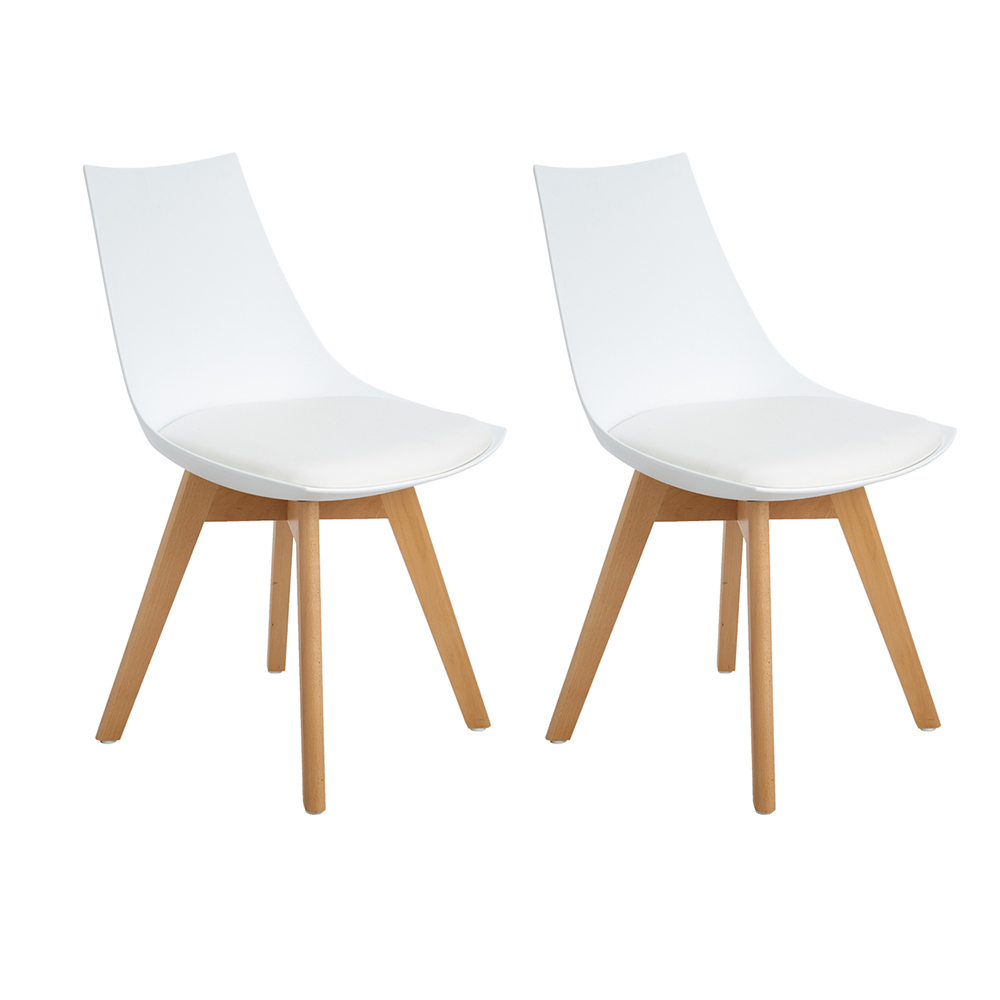 Фото Lot of 2 Kitchen Chairs, Wooden Chair, Eggree Mirror Frame With Feet, Office Room Of Beech Wood And Metal Frame, White Solid