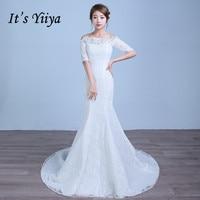 Short Sleeves Boat Neck Mermaid Train Wedding Dresses Cheap Red White Trailing Bride Frocks Custom Made