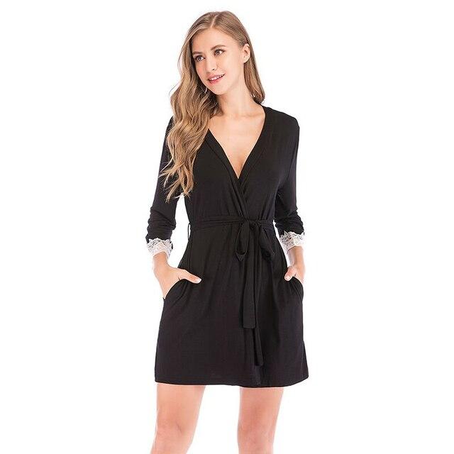 2020 Summer Women Kimono Robe Soild Sleepwear Nightwear Female Soft Modal Casual Bathrobe Belt Elegant Bathroom Spa Robe