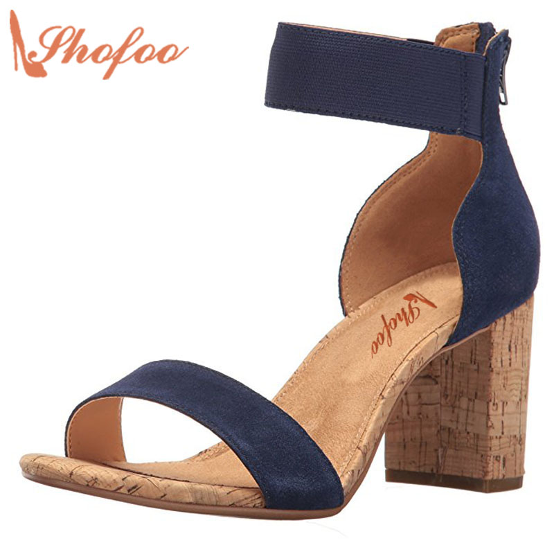 Navy Blue Yellow High Heels Sandal Superstar Shoes Top Quality Clogs Party Evening Casual Shoes Corks Aapatillas Size 33 Shofoo  romyed bridals wedding shoes kim kardashian pumps superstar shoes top quality flowers evening christian shoes size 4 16 shofoo