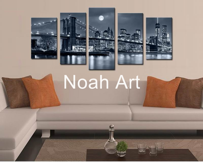 Hitam Putih Cetakan Manhattan Bridge Brooklyn Malam Landscape Canvas - Dekorasi rumah - Foto 4