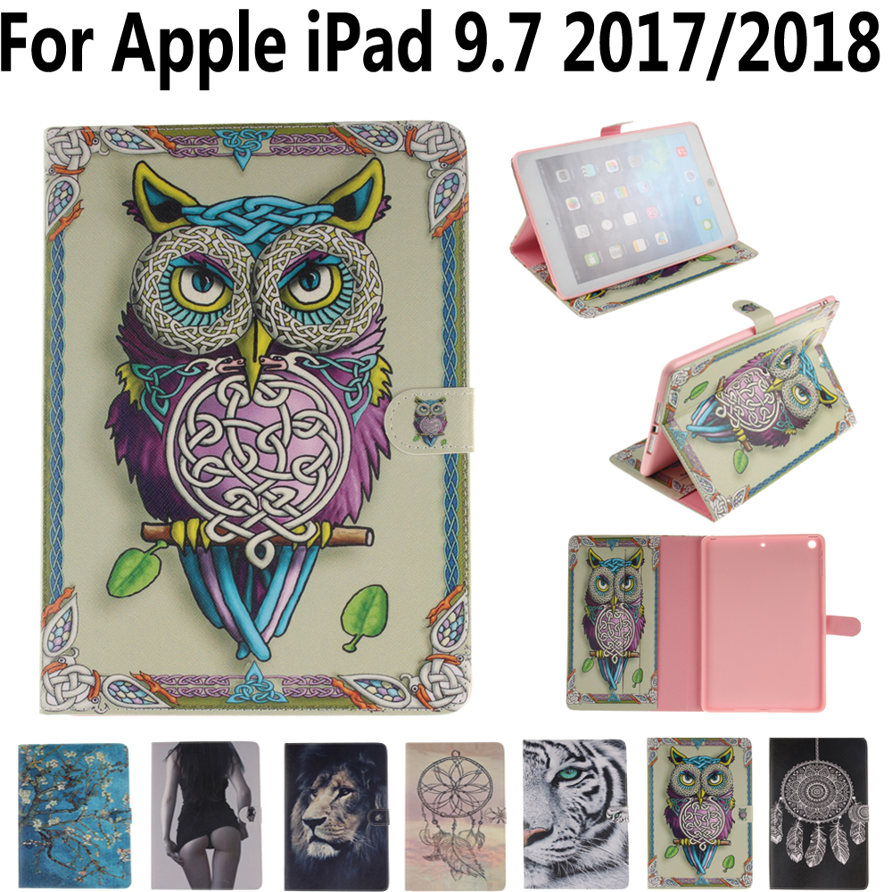 Tablet Protective Shell Cover Case for Apple iPad 9.7 2017 2018 A1893 A1822 Owl Flower Pu Leather Soft Tpu Flip Smart Stand Case flip left and right stand pu leather case cover for blu vivo air