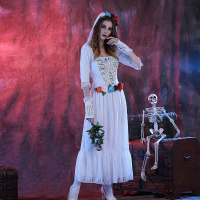 Ladies Bloody The Walking Dead Zombie Bride Horror Halloween Fancy Dress Costume Horror White Female Ghost