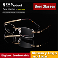 Hingeless flexível beta titânio puro óculos sem aro óptico óculos Rx-capaz de grandes óculos de armação dos homens tamanho 9039-55 18-145