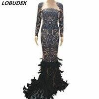 Женский зимний ночной клуб сценический костюм черные камни перья длинное платье сверкающие кристаллы цельное платье Вечерние торжественн