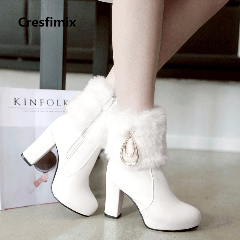 women sexy sweet party high heel boots lady casual autumn & winter faux fur warm boots female casual white boots botas e2319