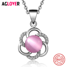 2017 New 925 Sterling Silver Pendant Necklace Fashion Charm Jewelry Flower 100% 50cm Chain