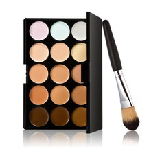 New 15 Colors Contour Face Cream Makeup Concealer Palette Powder Brush  # Free Shipping DHL EMS UPS