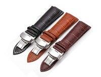 3 Color Luxury Classic Genuine Leather Strap Wholesale Retail Men Women WatchBand Push Button Hidden Clasp