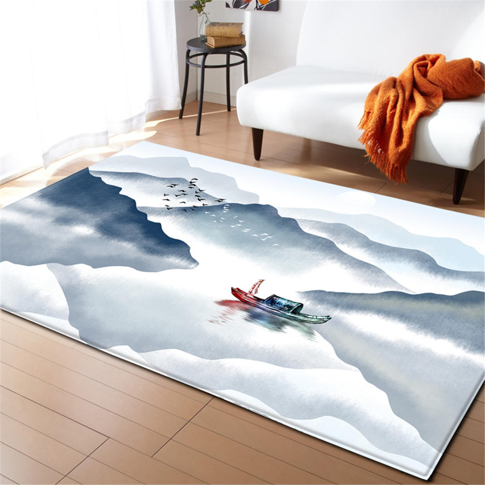 Modern Living Room Decoration Carpet Home Textile Chinese PaintingRug Area Rugs Soft Flannel Winter Warm Anti slip Carpets
