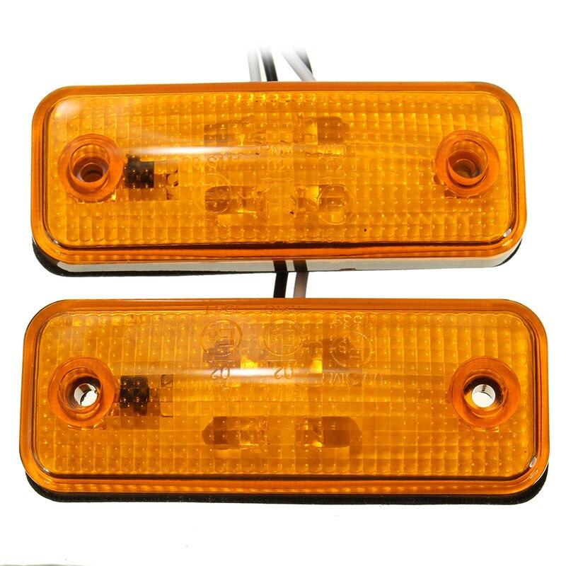 2Pcs 4LED Truck Side Marker Lights Clearance Lamp for 12V/24V Trailer Lorry