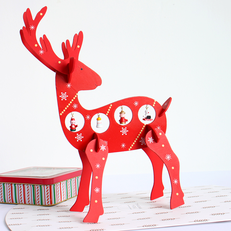 free shipping xmas gift 1pc mini table decoration wood christmas deer with ornament for xmas more than 100 tnt free shipping in figurines miniatures