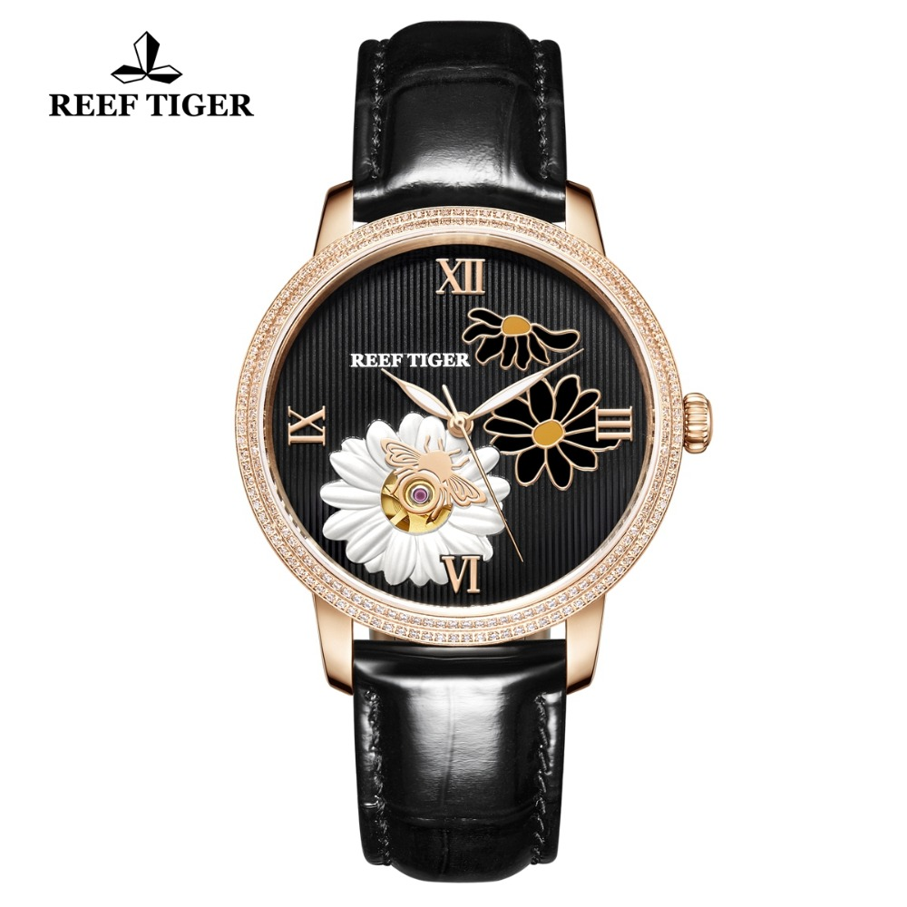 Reef Tiger/RT Women Fashion Watch 2019 Top Brand luxury Automatic Watches Lady Genuine Leather Strap Relogio Feminino RGA1585Reef Tiger/RT Women Fashion Watch 2019 Top Brand luxury Automatic Watches Lady Genuine Leather Strap Relogio Feminino RGA1585