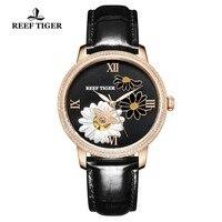 Reef Tiger/RT Women Fashion Watch 2018 Top Brand luxury Automatic Watches Lady Genuine Leather Strap Relogio Feminino RGA1585
